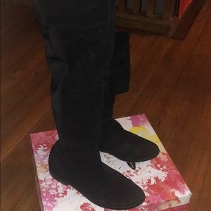 Real suede black thigh high boots!